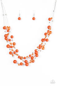 orange bead necklace images Paparazzi quot set the world on wire quot orange bead silver accented wire jpg