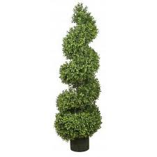 two 56 inch outdoor artificial boxwood spiral topiary trees uv