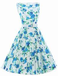 print floral 50s 60s vintage dresses audrey hepburn sleeveless