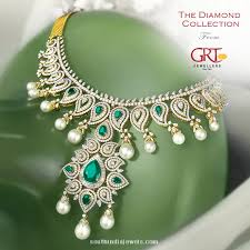 emerald pearl necklace images Diamond emerald pearl necklace from grt jewellers south india jewels jpg