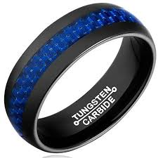 black ring 8mm unisex or men s tungsten wedding band black ring with blue