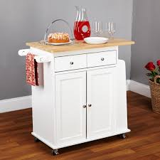 kitchen white wooden kitchen island on wheels having drawers and