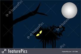 illustration of full moon cat