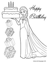 elsa holding birthday cake for you colouring page coloring pages