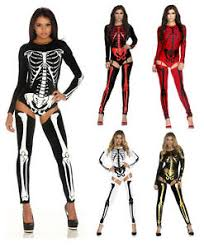 Womens Skeleton Halloween Costume Women Skeleton Jumpsuit Bodysuit Fancy Dead Halloween