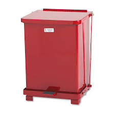 shop rubbermaid commercial products 7 gallon red steel outdoor