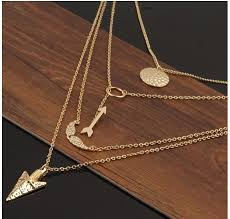 multi layer necklace images Arrow angel wings multi layer necklace jpg