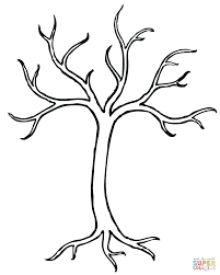 dead tree outline coloring page free printable coloring pages