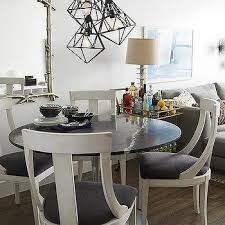 Black And White Dining Room With White Parsons Dining Table - Black and white dining table with chairs