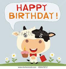 happy birthday funny cow birthday cake stock vector 659479717