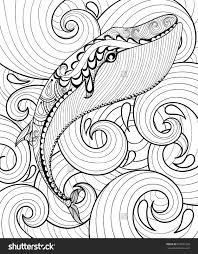 vector zentangle whale in sea for coloring page a4 size