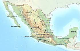 Physical Map Of The United States by Mexico Physical Map