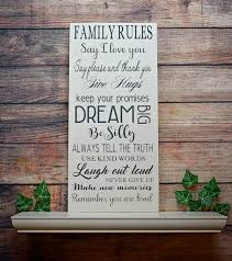 family rules sign wood sign sign farmhouse cottage chic