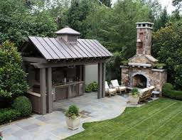 outdoor kitchen roof ideas covered outside kitchen near the outdoor fireplace and