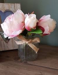 artificial peonies pink artificial peonies roses display glass jar faux peony