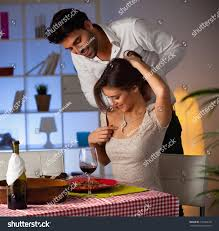 Romantic Dinner At Home by Romantic Couple Having Dinner Home Man Stock Photo 219585139