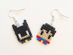 batman vs superman hama bead earrings