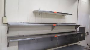 qty 3 stainless steel wall mount shelves 2 bottom 8ft x 10