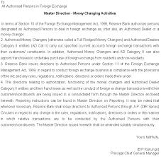 Authorization Letter Check Encashment master direction money changing activities no 3