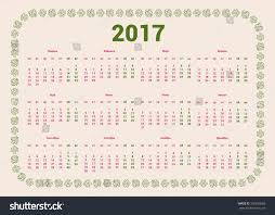 russian 2017 year calendar template russian stock vector 395260066