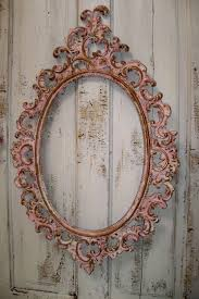 large vintage pink frame ornate white accented gold shabby chic