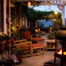 garden wooden bench outdoor lights beautiful backyard most