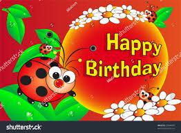 ladybug flowers birthday card kids stock vector 27048976