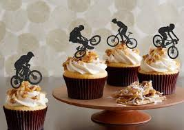 custom cupcake toppers custom bicycle silhouette cupcake toppers sports event party picks