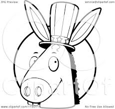 cartoon clipart of a black and white republican elephant