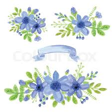 floral ribbon watercolor blue flowers green branches leaves in bouquet set