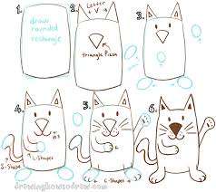 big guide to drawing cartoon cats with basic shapes for kids how