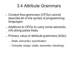 advanced programming language theory week 2 attribute grammars