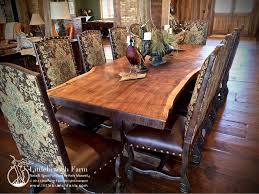 Walnut Dining Room Furniture Rustic Dining Table Live Edge Wood Slabs Littlebranch Farm