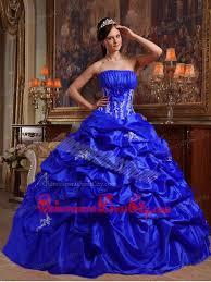 royal blue ball gown strapless floor length appliques taffeta