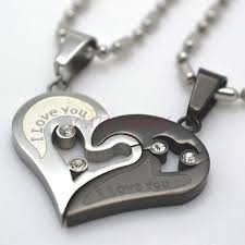 heart charm pendant necklace images Silver tone black men women his her couples heart charm pendant jpg