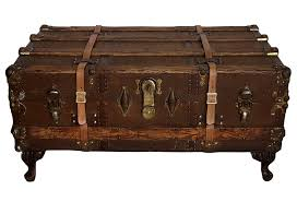 large vintage steamer trunk bentwood bound trunk coffee table