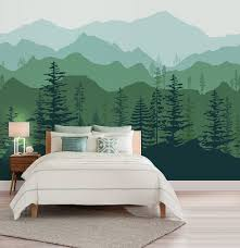 nature wall decal etsy peel and stick ombre mountain pine trees forest scenery nature wallpaper wall decal sticker for interior
