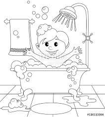 boy bathroom black white vector illustration