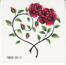 waterproof temporary tattoos two roses heart shaped wst12901