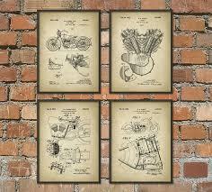 harley davidson wrapping paper harley davidson patent prints set of 4 motorcycle patent