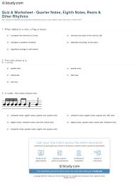 quiz u0026 worksheet quarter notes eighth notes rests u0026 other