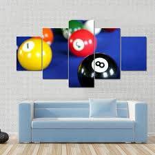 pool table wall art pool balls on blue pool table multi panel canvas wall art tiaracle