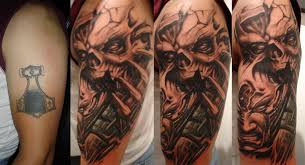 freehand biomechanical skull cover up by toxyc tattoonow