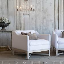 eloquence scandinavian worn oak white linen bergere armchair