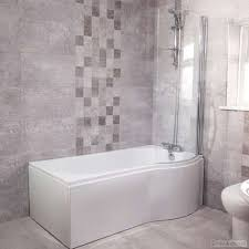 p shape shower bath right hand 1675 acrylic white inc screen