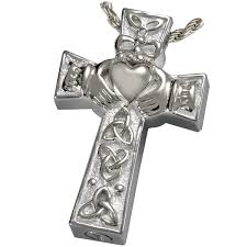 silver cremation jewelry claddagh celtic cross