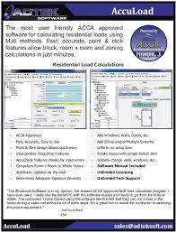 Home Hvac Design Software Adtek Acca Hvac Heat Load Loss Calculation Software Program Air