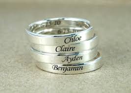 mothers rings stackable engraved custom name ring band ring sterling silver personalized