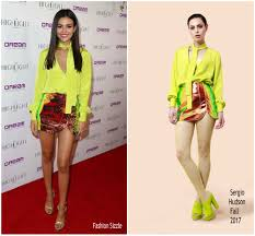 victoria justice in sergio hudson at grand opening of the