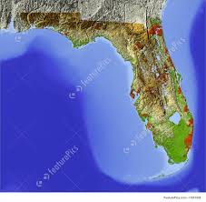 Florida Coast Map Signs And Info Shaded Relief Map Of Florida Stock Illustration